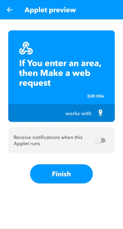 Click finish to activate your applet